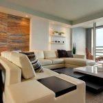 duvar rafları ile modern salon dekorasyonu