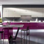 modern tasarım mürdüm rengi mutfak dekorasyonu