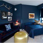 yatak odasında mavi kombinleri