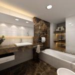 banyoda modern mermer etkisi