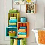 renkli meyve kasaları ile banyo dekoru