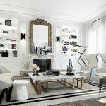 siyah beyaz mükemmel oturma odası dekorasyonu