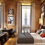 yatak odası tuğla duvar dekorasyonu