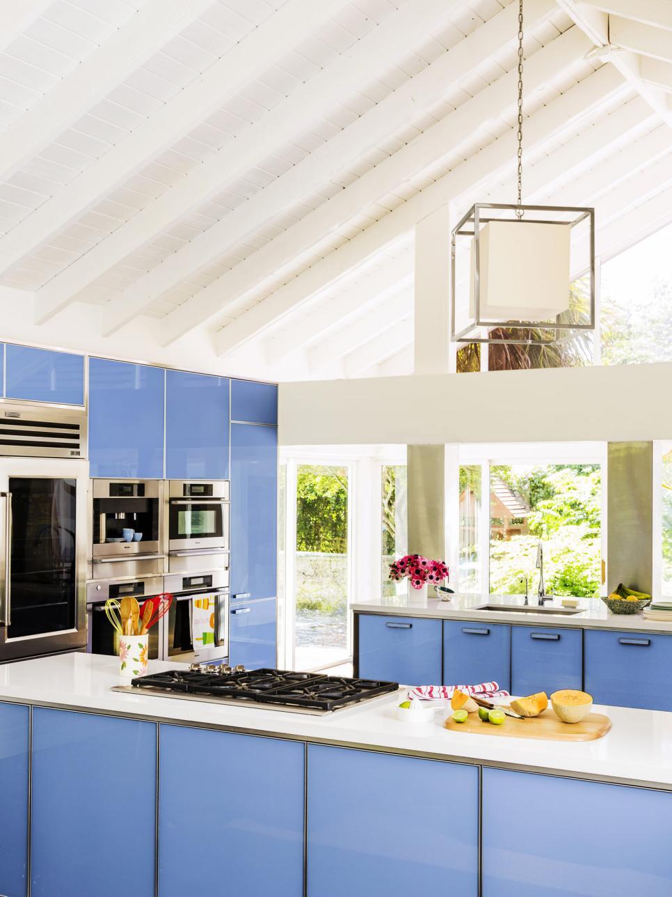 Mavi Renkli Mutfak Dolapları