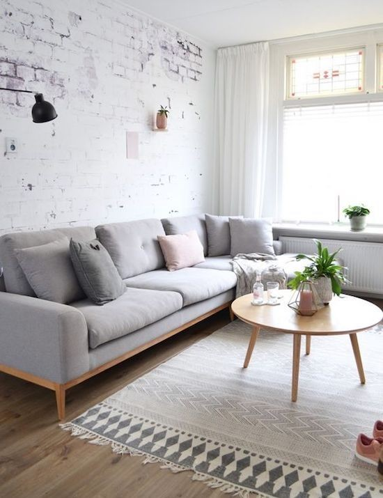 minimalist gri salon dekorasyonu