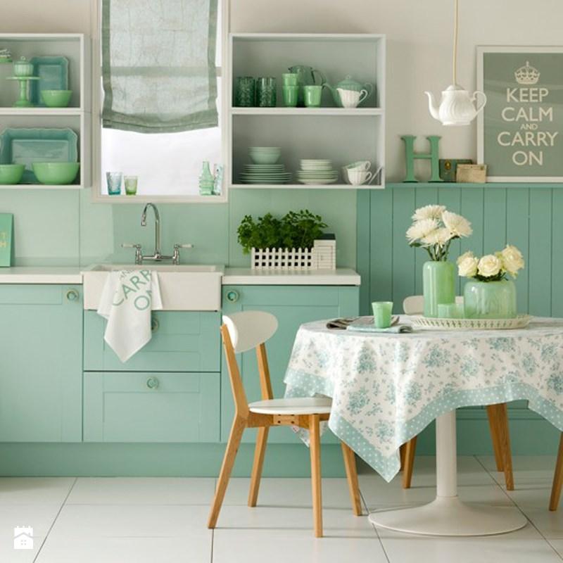 Mint yeşili mutfak dolapları