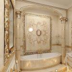 beyaz altın sarısı banyo