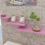 duvarda pembe dekoratif raflar 2016