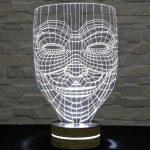 3 boyutlu led aydınlatmalı maske masa lambası 2016
