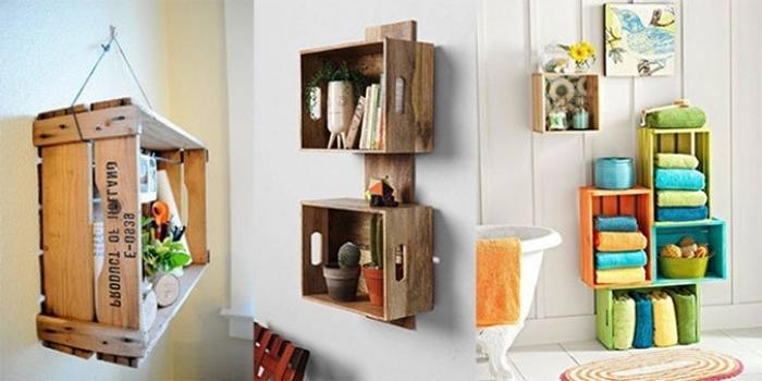 Ahşap kasalarla dekoratif mobilya