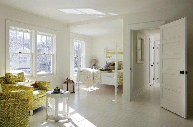 beyaz zemin kaplama yatak odası dekorasyonu
