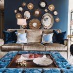 dekoratif aynalar ile salon duvar dekorasyonu 2016