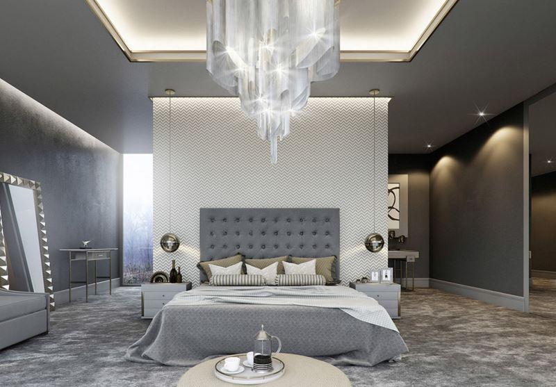 gri detaylı yatak odası dekorasyonu 2016