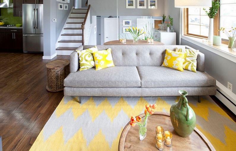 gri koltuk ve sarı desenli gri halı 2016