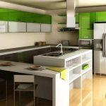 modern yeşil mutfak dekorasyonu 2016