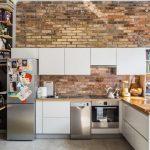 tuğla duvarlar ile estetik loft mutfak dekorasyonu