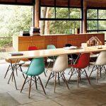 renkli eames sandalyeler ile yemek odası
