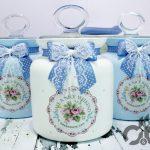 mavi beyaz dekoratif kavanoz seti