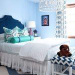 mavi beyaz zigzag desenli yatak ucu bank