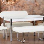 metal detaylı beyaz modern mutfak masa sandalye takımı