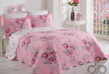 cicekli pembe yatak ortüsü 2016