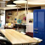 retro tarzı mavi smeg buzdolabı