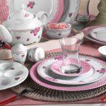 pembe zarif kahvaltı takımı kütahya porselen