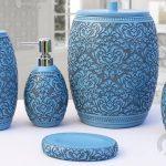 5 parça mavi dekoratif banyo seti 2016