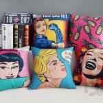 dekoratif pop-art baskılı yastıklar