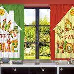 Home Sweet Home Desenli Çift Kanatlı 3D Baskılı Fon Perde