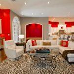 kırmızı beyaz modern salon