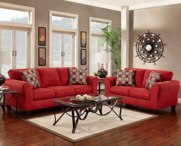 Kırmızı koltuklu salon dekorasyonu