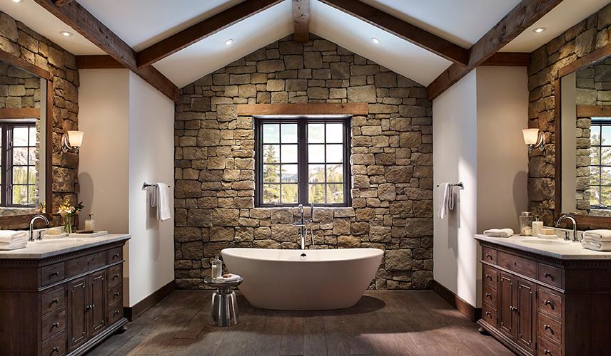 Etkileyici ta duvar banyo dekorasyonlar dekorblog for Comedor completo contemporaneo barato