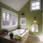 yeşil duvarlı klasik banyo dekosyonu