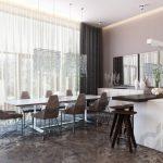 dekoratif aynalar ile zarif yemek odası