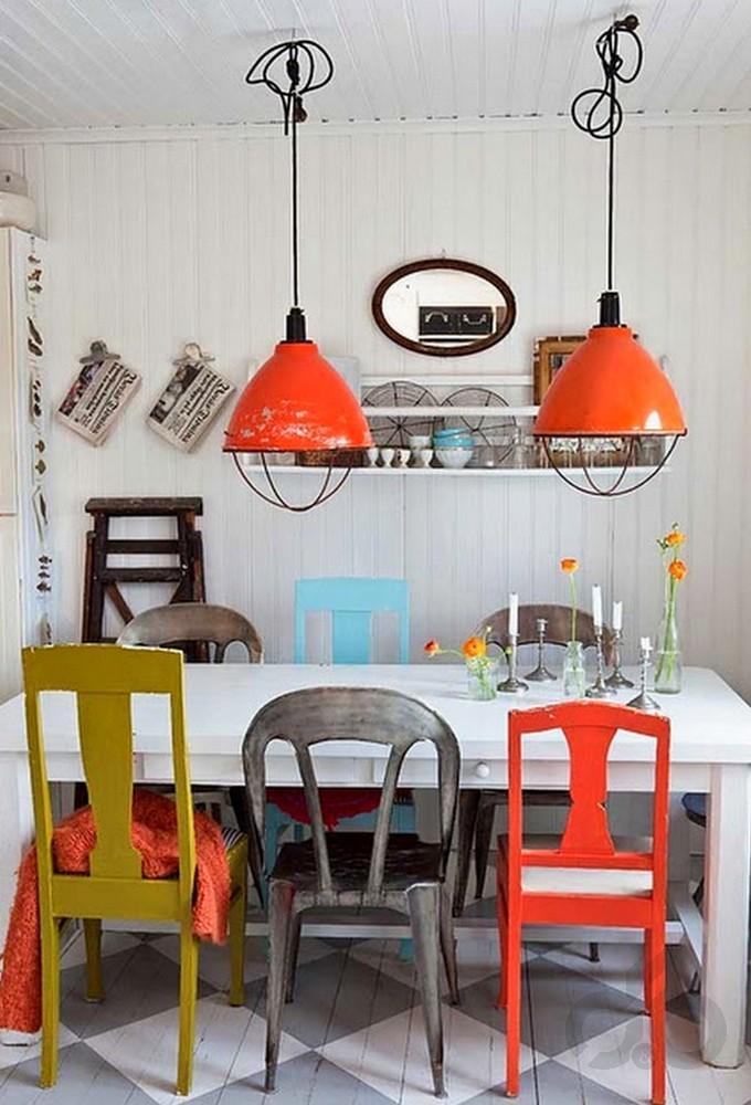 eklektik stili renkli mutfak dekorasyonu