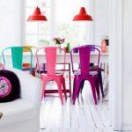 renkli sandalyeler ile modern mutfak fikirleri