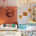 çocuk odasında tuğla duvar dekorasyonu