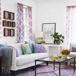 etkileyici lavanta rengi oturma odası