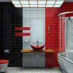 kırmızı banyo dekorasyonu