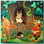 sevimli orman hayvanları tablo