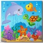 sualtı sevimli hayvanlar bebek odası tablo