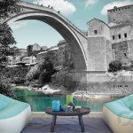 bosna mostar koprusu dekoratif poster 2017