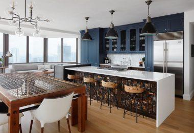 Lacivert Renkli mutfak dolapları