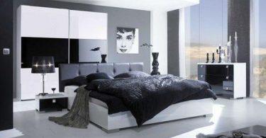 gri yatak odası dekorasyonu