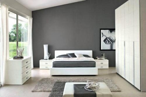 gri yatak odası dekorasyonuu