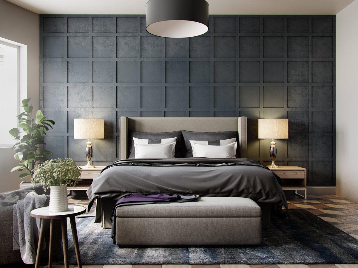 gri yatak odası dekorasyonuu,
