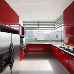 Kırmızı ağırlıklı mutfaklar