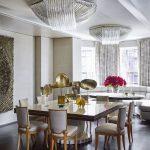Salonla uyum sağlanmış modern avangard karışımı yemek odası