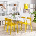 Sarı renkli sandalyeler ile saat , beyaz masa ve mutfak ürünleri ile kombin oluşturmuş.